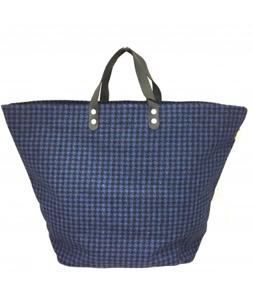 Sud hand bag in hound's tooth blue wool + leather handle
