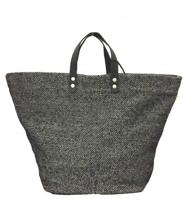 Sud hand bag in black and cream herringbone fabric + leather handle