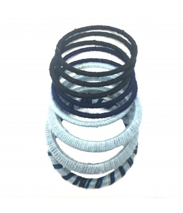 Sud bracelets set in wool mix color blue + pale blue