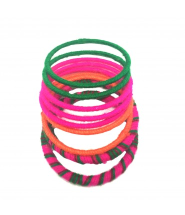 Sud bracelets set in wool mix color pink + green