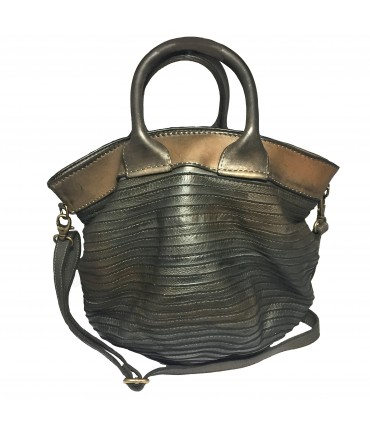 Majo handbag in extra-chocolate brown leather with double handle and shoulder strap