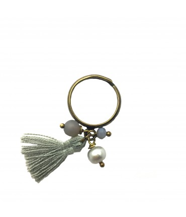 Barbara Mogni ring with stones and tassel-pendant