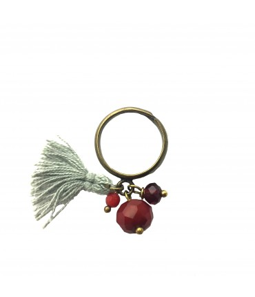 Barbara Mogni ring with red stones and tassel pendant