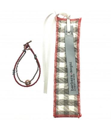 bracciale con segnalibro BARBARA MOGNI perline rosse+ottone brunito