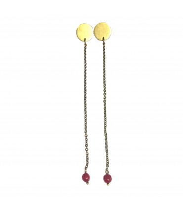 Barbara Mogni long earrings in burnished brass + dark red coral root