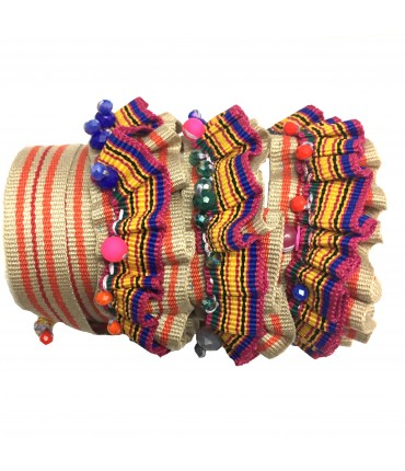 Chiara Fini orange band bracelet sewn and embroidered by hand