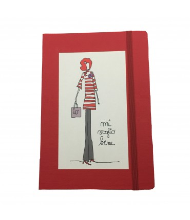 "Maddalena Olivi red high notebook with elastic band ""mi voglio bene"" (I Love Myself)"