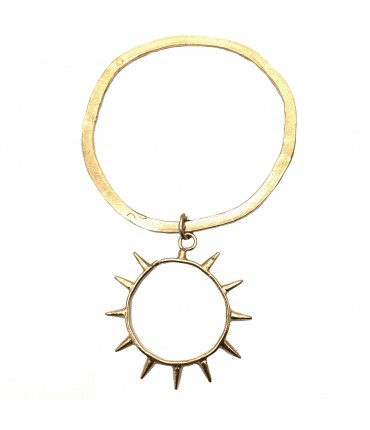 Miriam Nori flat bracelet with polished bronze and sun pendant