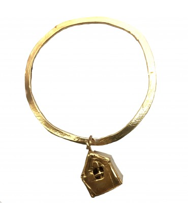 Miriam Nori flat bracelet with polished bronze and house pendant