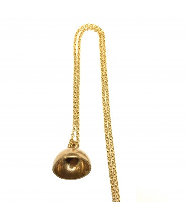 Miriam Nori shiny bronze necklace with bell pendant