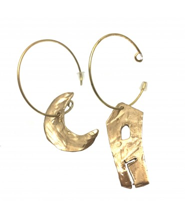 Miriam Nori circle earrings shiny bronze with house + moon pendants