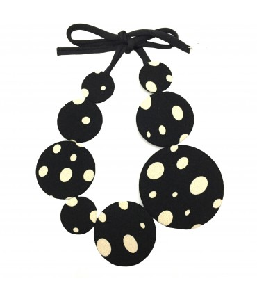 Flow-ers choker necklace black cream color dots pattern