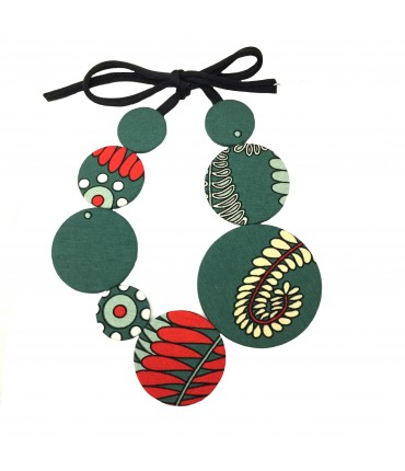 Flow-ers choker necklace green and red color pattern