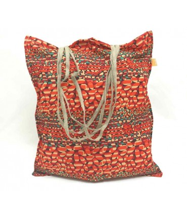 Shopping bag Sud seta cruda arancio/rosso/verde