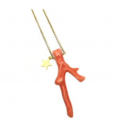 Full Of Grace necklace gold plated 925 silver with star and coral
