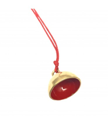 Miriam Nori necklace bell with red enamel inside and red cord