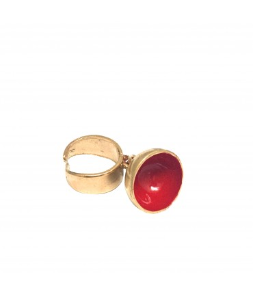 Miriam Nori ring in polished bronze with bell pendant and inside red enamel