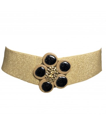 Exquisite J high belt gold and lurex rhinestone flower buckle + black lurex