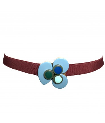 Exquisite J elastic belt with light blue flower buckle