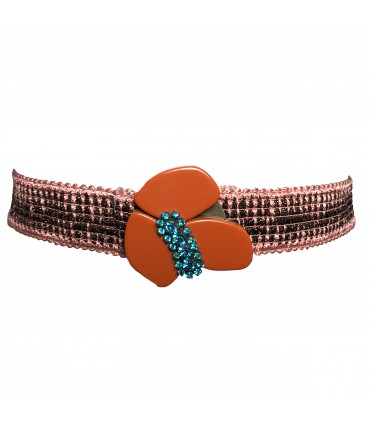 Exquisite J pink and lurex gold jacquard belt with flower buckle and turquoise colored crystals