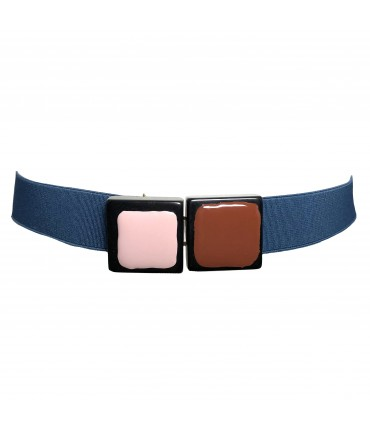 Exquisite J elastic belt teal blue with square buckle pink + brown