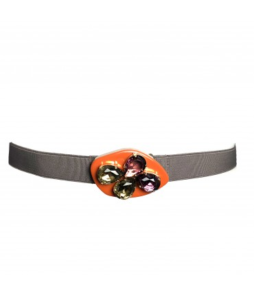 Exquisite J gray elastic belt with orange buckle + multicolor crystals