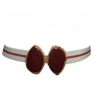 Exquisite J elastic belt with stripes and double bordeaux oval buckle