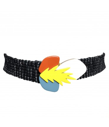 Exquisite J belt elastic wool with fluo yellow, light pink and burnt buckle