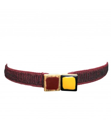 Exquisite J low belt burgundy with double buckle yellow + burgundy