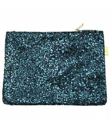 Sud pouch green teal glitter