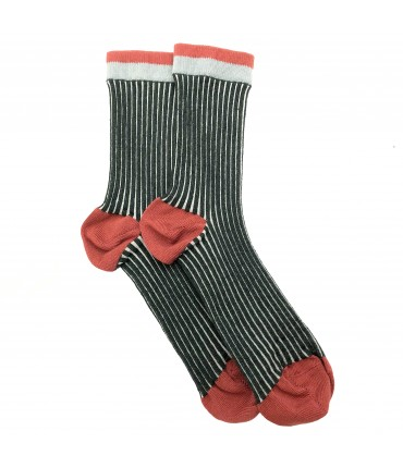 Exquisite J socks anthracite stripes + strawberry pink