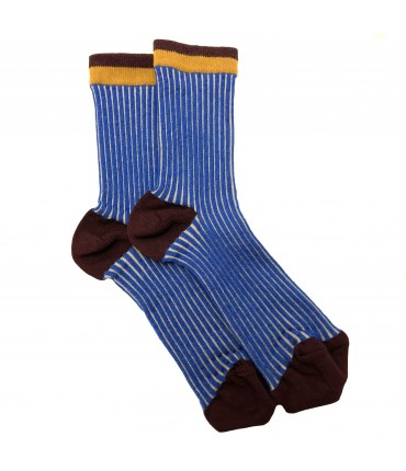 Exquisite J socks light blue and burgundry stripes
