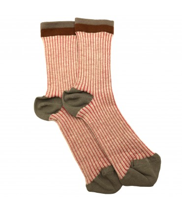 Exquisite J socks pink and beige stripes