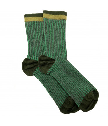Exquisite J socks light green and army green stripes