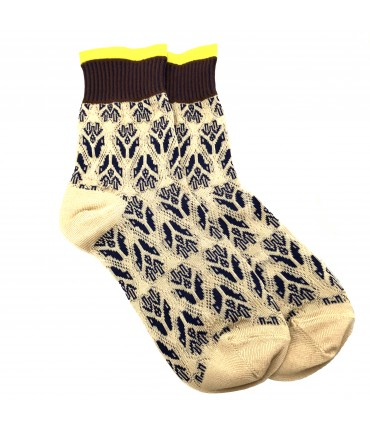 Exquisite J socks light and dark blue jacquard pattern