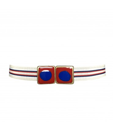 EXQUISITE J elastic belt red and blue enamel buckle