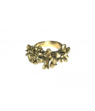 "GIULIA TAMBURINI ""BLOSSOM II"" ring in polished bronze with flowers"