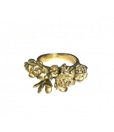 "GIULIA TAMBURINI ""BLOSSOM III"" ring in polished bronze with leaves and flowers"