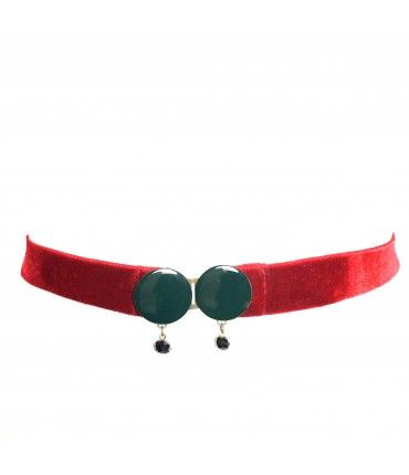 EXQUSITE J belt dark green enamel buckle and red elastic velvet + pendants