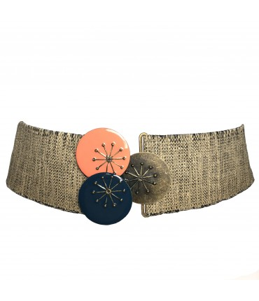 EXQUISITE J high elastic belt melange linen with tris buckle enamel circles