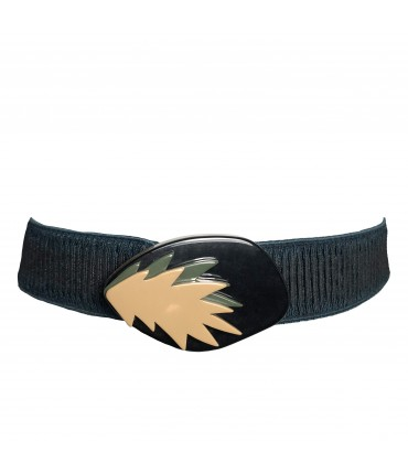 EXQUISITE J dark green elastic belt with black, army green and beige buckle