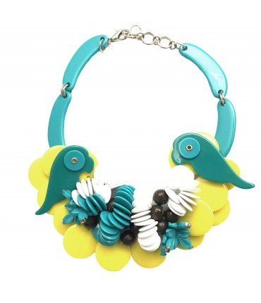 MARINA FOSSATI choker necklace with parrots and pads