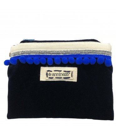 clutch bag ANNINA28 in velvet dark blue with bluette pompon