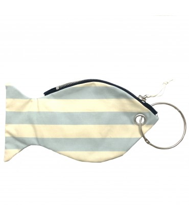 LESARDINE.COM coin purse fish-shaped cream white/ light blue