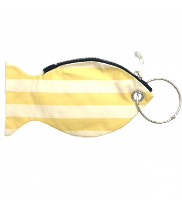 LESARDINE.COM coin purse fish-shaped cream white/yellow