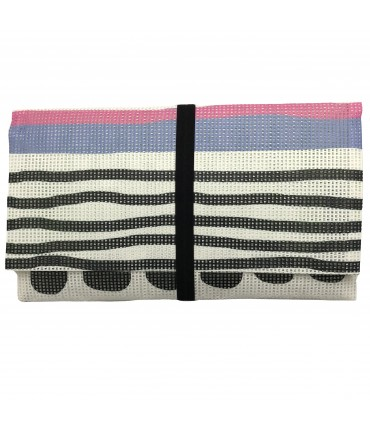envelope clutch MADDALENA OLIVI black+lilac horizzontai striped