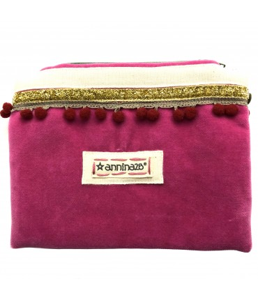clutch bag ANNINA28 in velvet shocking with red pompon