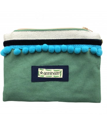 Annina28 clutch bag sachet water green cotton with turquoise pompon