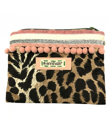 clutch bag ANNINA28 spotted cotton with pink pompon