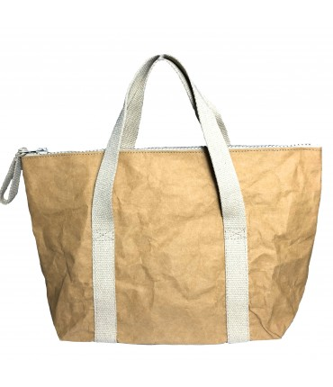 shopping bag ESSENT'IAL in washable paper fabric with double handle havana color
